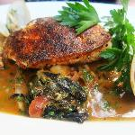 Spicy Halibut and Clam Roast with Bacon Braised Greens, Wh