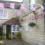 Exterior with more bunting