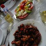 salad and fried octopus