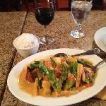 delicious curry duck with rice, sautéed vegetables and Nieto Malbec wine...