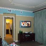 A flat-screened t.v. is located in the family room area.