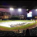 Game prep after rain delay