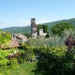 Blick aus dem Gartenbereich auf das Castel