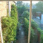 2階のゲストルームから中庭を眺める