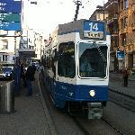 Tram stops at front door