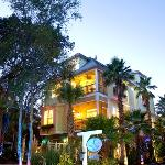 Inn surrounded by lush, tropical vegetation