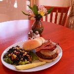 Western Burger with Housemade Black Bean Salad