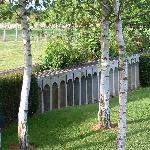 Garden with model railway bridge