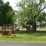 Swing, gazebo and play area