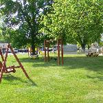 Swing, gazebo, play area