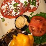 Chesapeake burger with tomato feta salad...very good