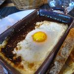 Egg poached in Red Wine