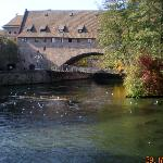 Building is over the river Pegnitz