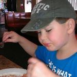 Our grandson Riley ate half of his pizza and devoured his PaPa's linguini! He loved it!