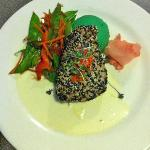 Sesame Seared Tuna  with wasabi mashed potatoes, snow peas, carrots, and ginger cream sauce the