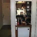 Refrig and coffee maker and condiment bar