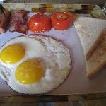 Freshly prepared hot American breakfast