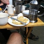 the dry scones were perfect for propping up the wonky table.