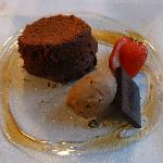Choc fondant with coffee ice cream