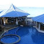 Swimming pool with pool bar