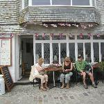 Enjoying the sun and food at The Tea Room in St Ives Cornwall