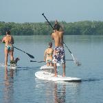 Stand up paddle boarding on Laguna de Manialtepec.
