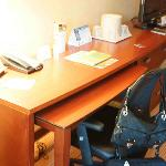 Desk Space with Pull-Out Table.