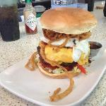 A 2/3 pound burger with sautéed onions & egg (a smaller version is available!)