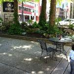 The outdoor courtyard/patio where I drank my chai latte while my toddler explored