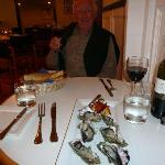 Oyster starter and yes the Red wine did go well with Fish