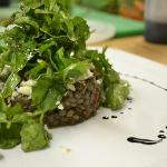 Puy lentils and spring leaves
