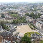 View of Chartres, including hotel, on the right, from Cathedral tower