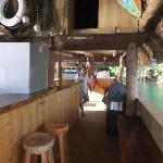 Inside cabana at end of dock