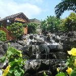 a waterfall hut