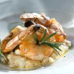 King prawns in lardo di Colonnata, with rosemary and Emmer wheat