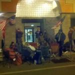 Crowd camping out front over night