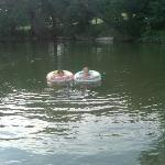 Kids in the river with tubes