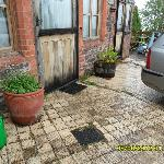 Dirty unswept patio with weeds growing out of cracks and in the flower tubs