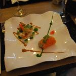 "Salmon ""cannelloni"" and prawn with yuzu juice"