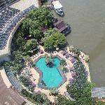 Blick von der Suite auf Pool