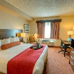 Spacious king bedded rooms with plush pillow mattresses and luxury duvet bedding.