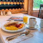 Complimentary hot breakfast for hotel guests.