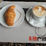 Croissant and cappuccino at Le Café