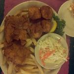 Haddock and scallops with fries and slaw
