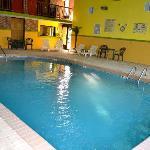 Indoor heated pool with hot tub.