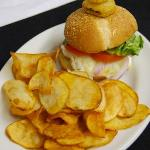 The crowd pleasing Galley burger - homemade all beef burger, peanut butter, overeasy egg, tomato