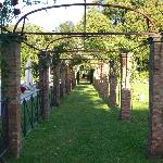 Rose covered arch leading to villa