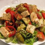 Greek Salad with Balsamic Vinegar and Olive Oil I added