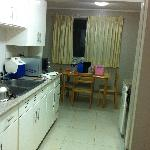 kitchen with dining table for maids