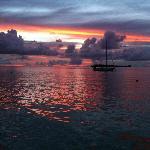 Vue du Yacht Club Bar Restaurant in Bora Bora at sunset time